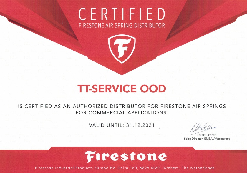 TT Service Firestone Certificate